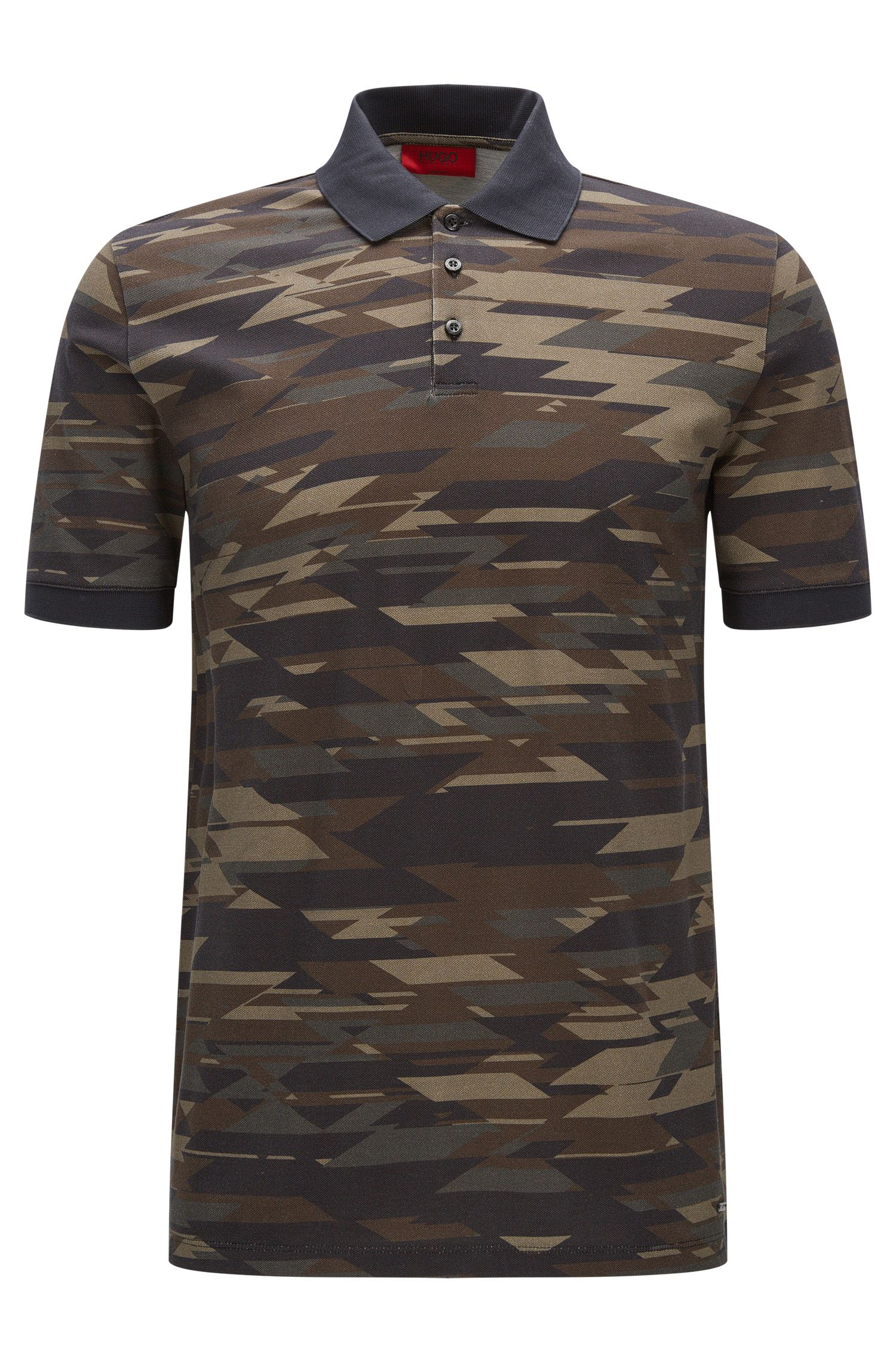 Regular-fit cotton polo shirt in camouflage print