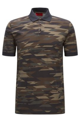 Regular-fit cotton polo shirt in camouflage print, Dark Green