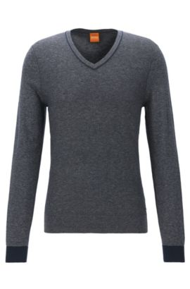 Regular-fit V-neck sweater in two-tone fabric, Dark Blue