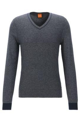Regular-Fit Pullover mit V-Ausschnitt aus Baumwoll-Mix mit Schurwolle, Dunkelblau