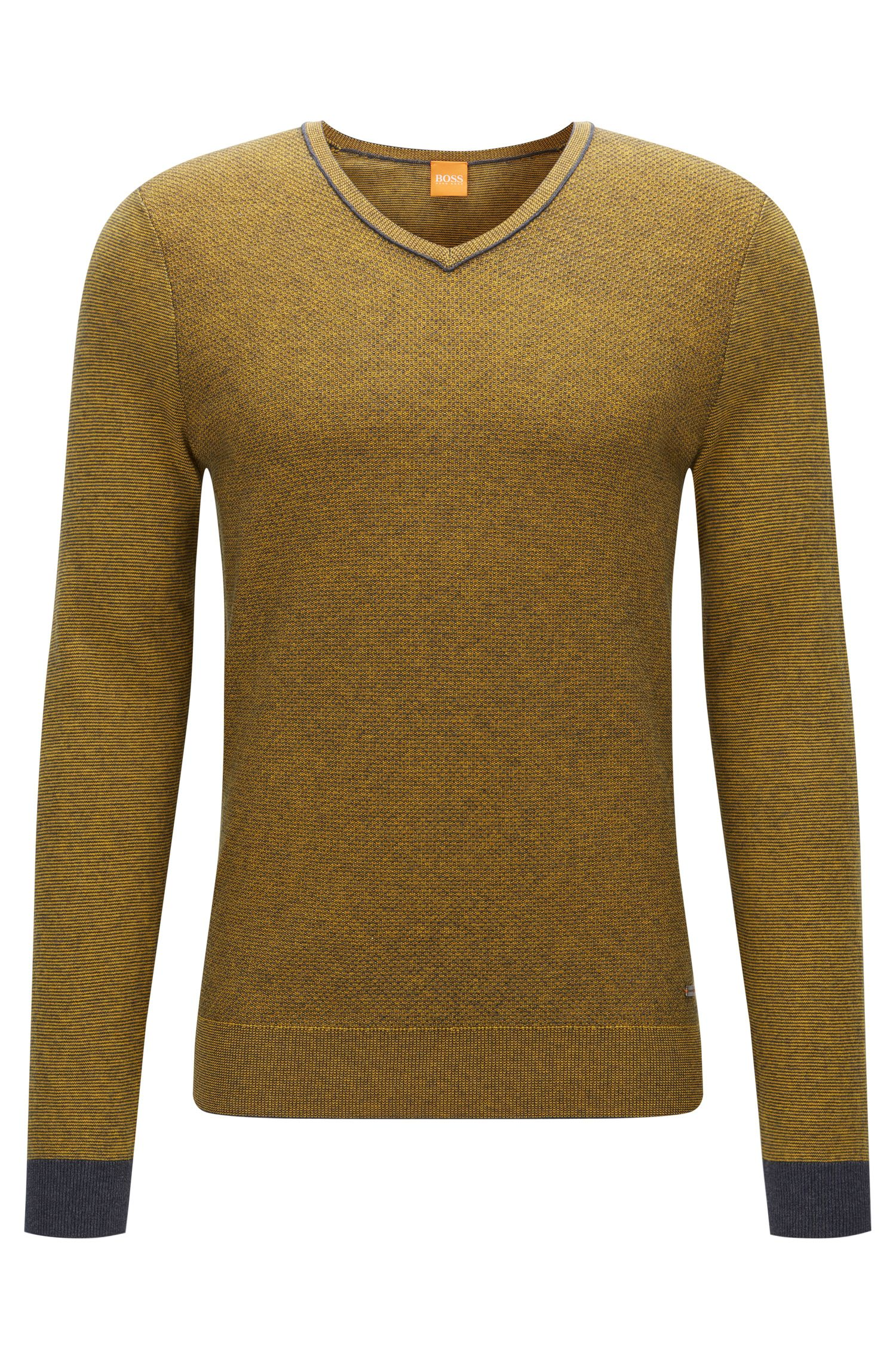 Regular-fit V-neck sweater in two-tone fabric