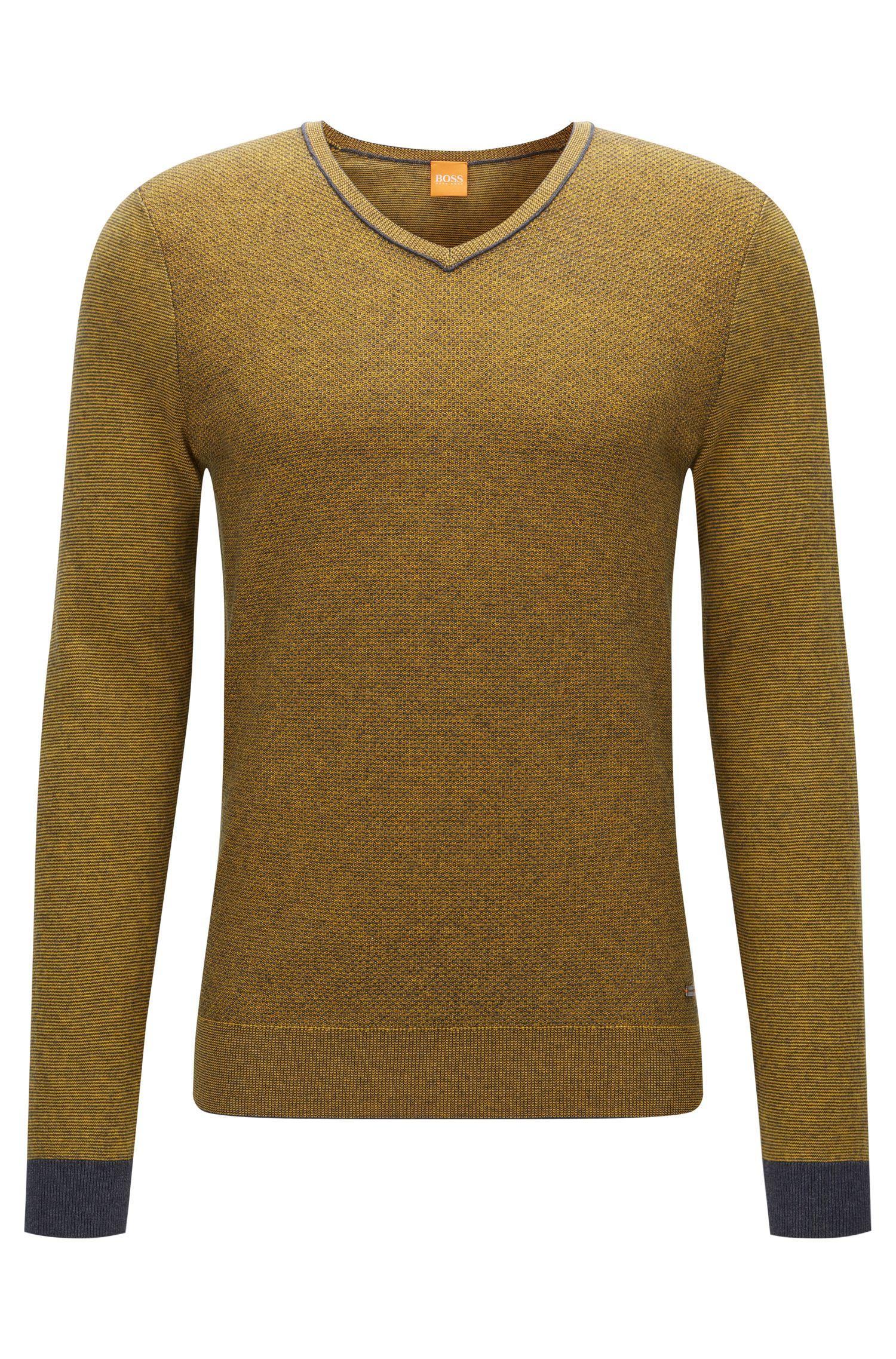 Regular-Fit Pullover mit V-Ausschnitt aus zweifarbigem Baumwoll-Mix mit Schurwolle