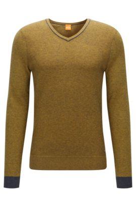 Regular-fit trui van tweekleurig materiaal met V-hals, Donkerblauw