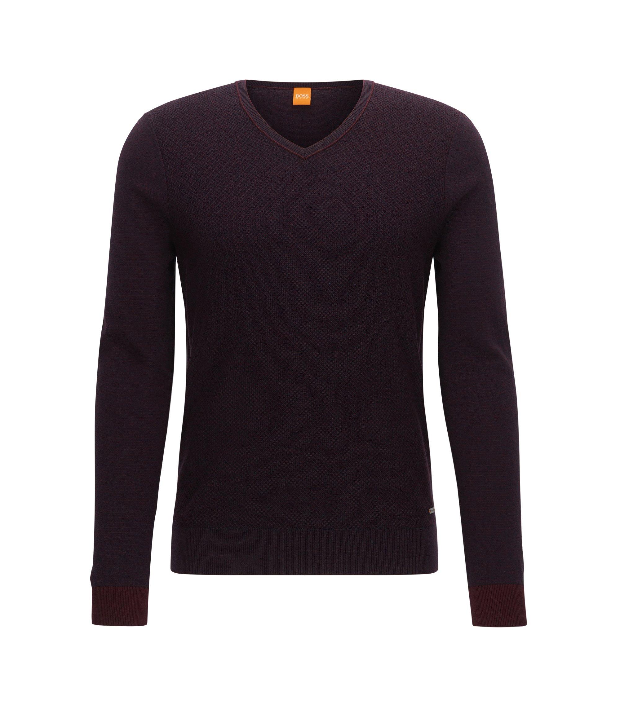 Regular-Fit Pullover mit V-Ausschnitt aus Baumwoll-Mix mit Schurwolle, Dunkelrot