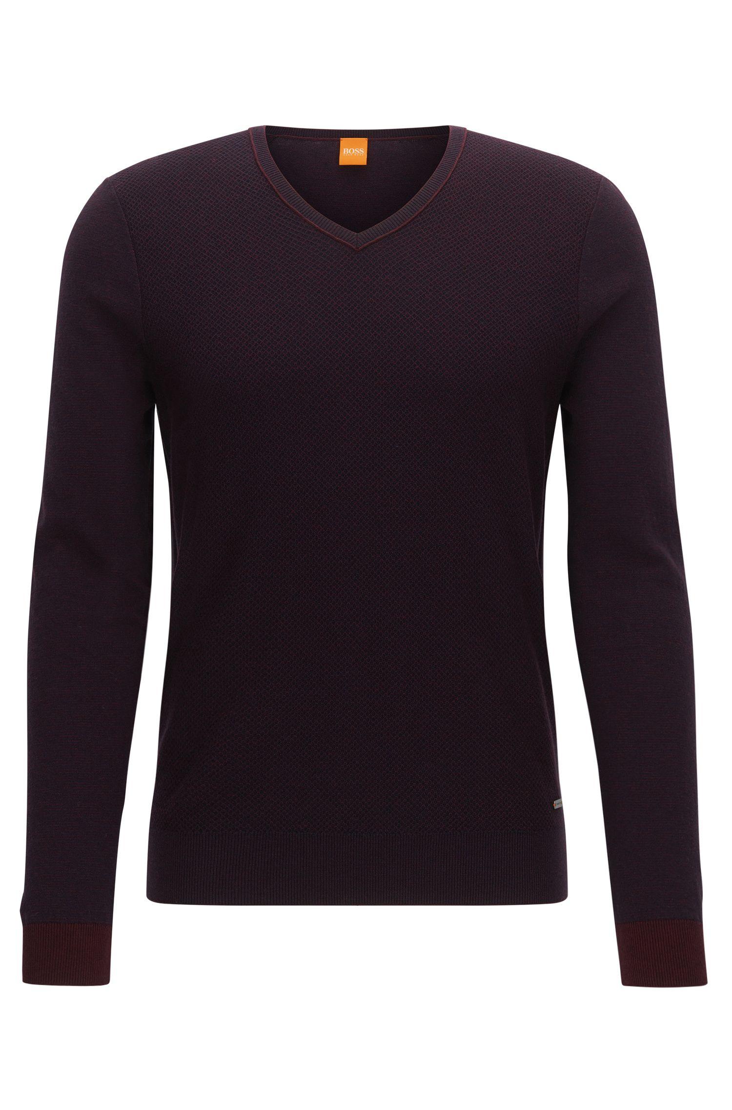 Regular-Fit Pullover mit V-Ausschnitt aus Baumwoll-Mix mit Schurwolle