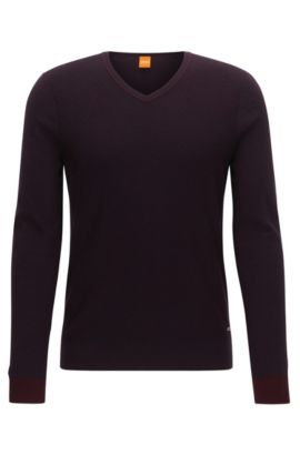 Regular-fit V-neck sweater in two-tone fabric, Dark Red