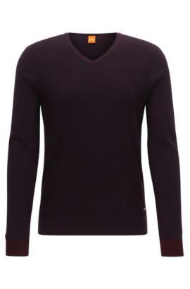 Maglione regular fit con scollo a V in tessuto bicolore, Rosso scuro