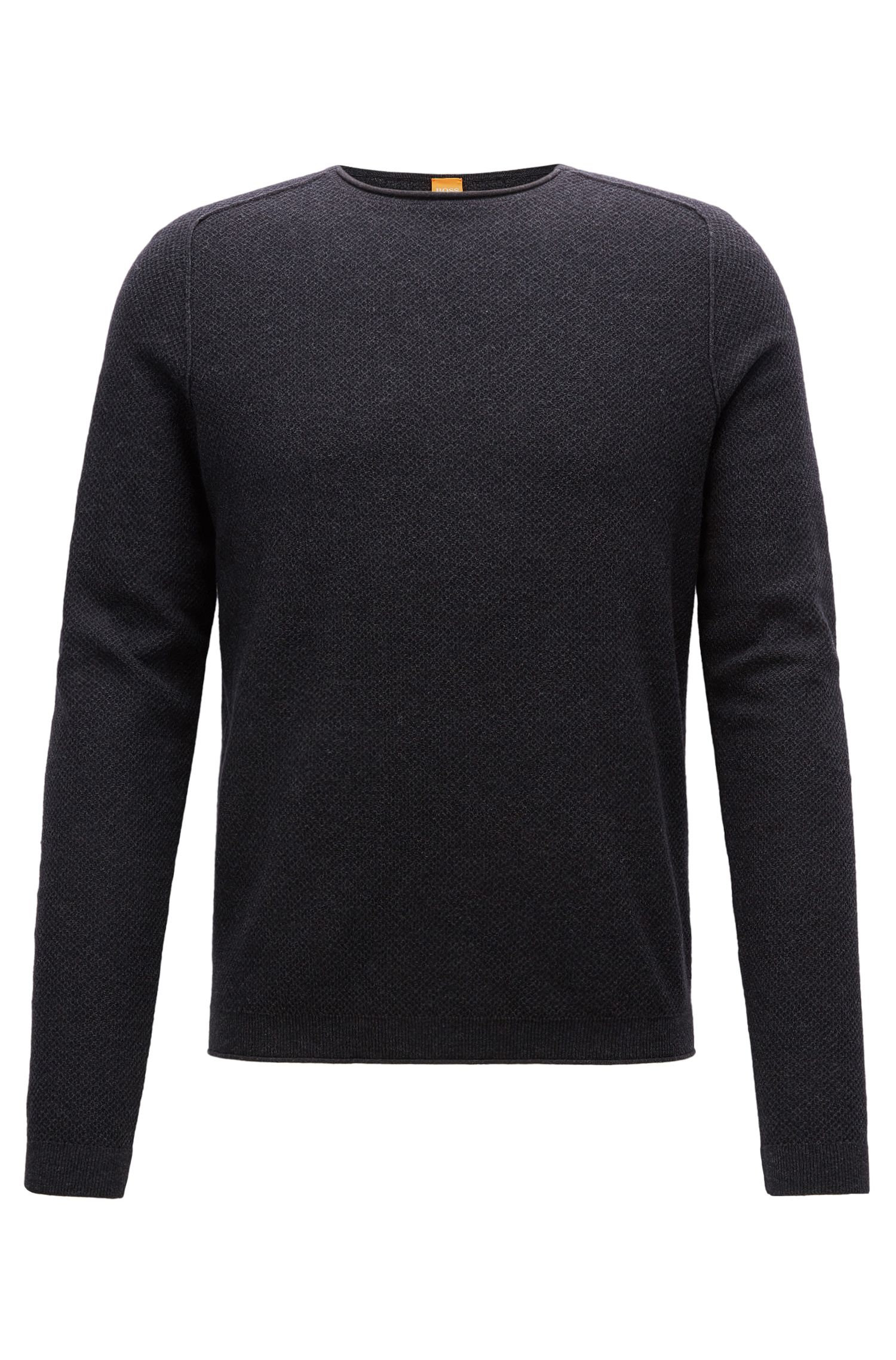 Regular-fit sweater in micro-structure fabric