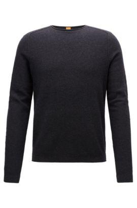 Regular-fit trui van materiaal met microstructuur, Donkergrijs