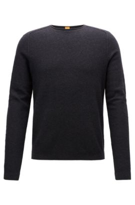 Regular-fit sweater in micro-structure fabric, Dark Grey