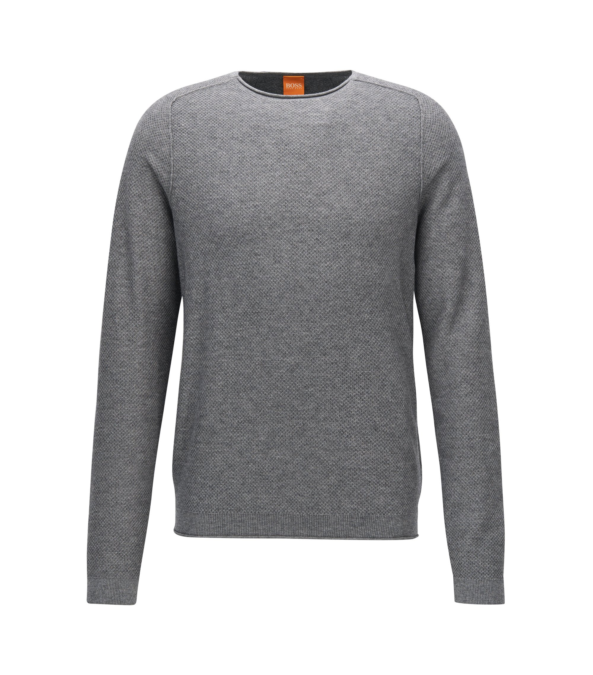 Regular-fit sweater in micro-structure fabric, Grey