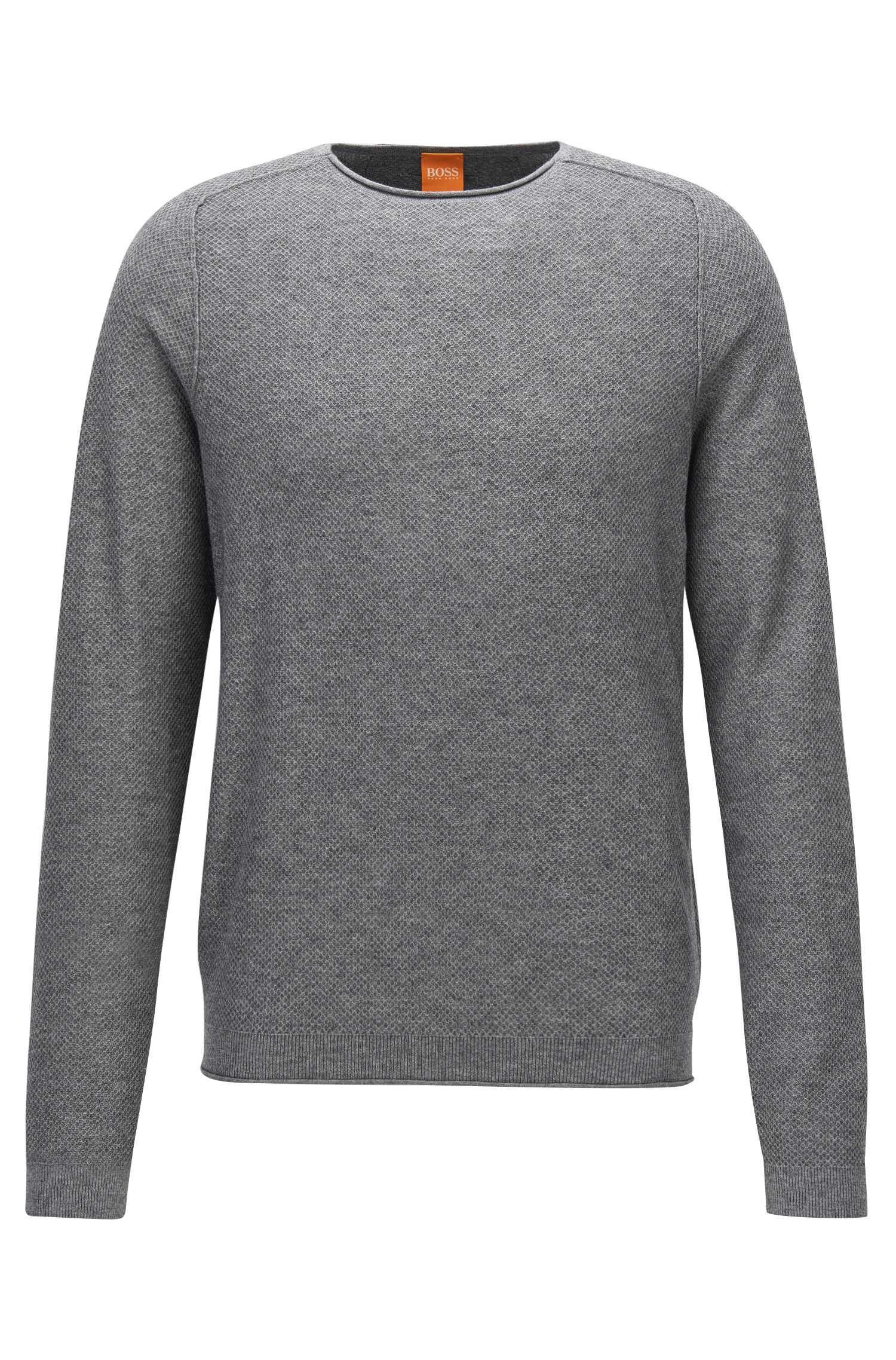 Regular-Fit Pullover aus strukturiertem Baumwoll-Mix mit Schurwolle