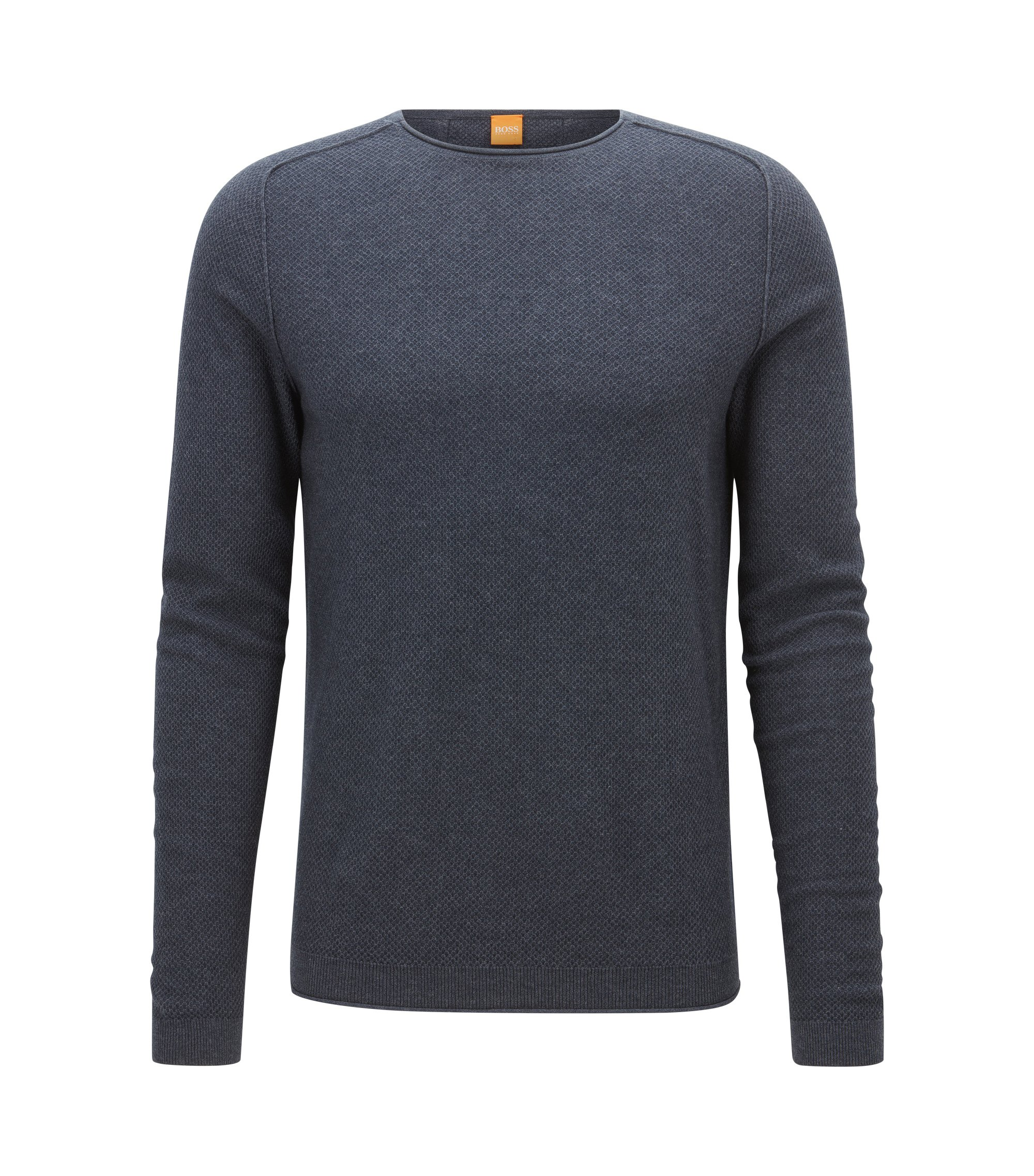 Regular-Fit Pullover aus strukturiertem Baumwoll-Mix mit Schurwolle, Dunkelblau