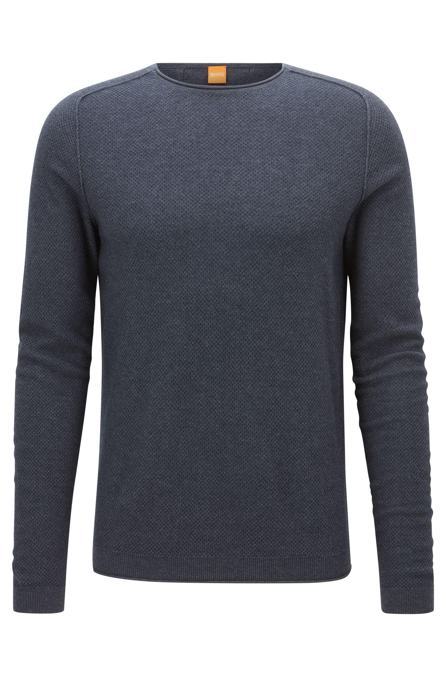 Maglione regular fit in tessuto con micro-lavorazione