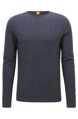 Regular-fit sweater in micro-structure fabric, Dark Blue