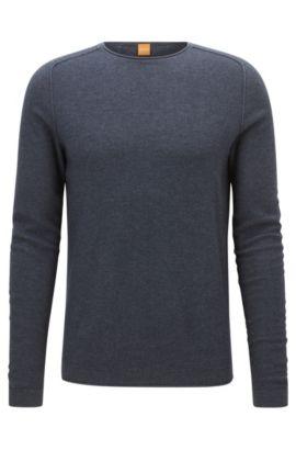 Maglione regular fit in tessuto con micro-lavorazione, Blu scuro