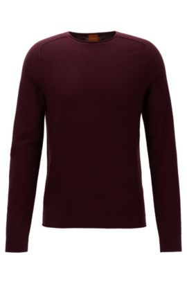 Regular-fit sweater in micro-structure fabric, Dark Red