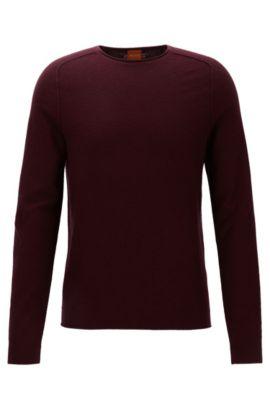Regular-Fit Pullover aus strukturiertem Baumwoll-Mix mit Schurwolle, Dunkelrot