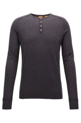 Cotton sweater in lightweight mélange, Dark Grey
