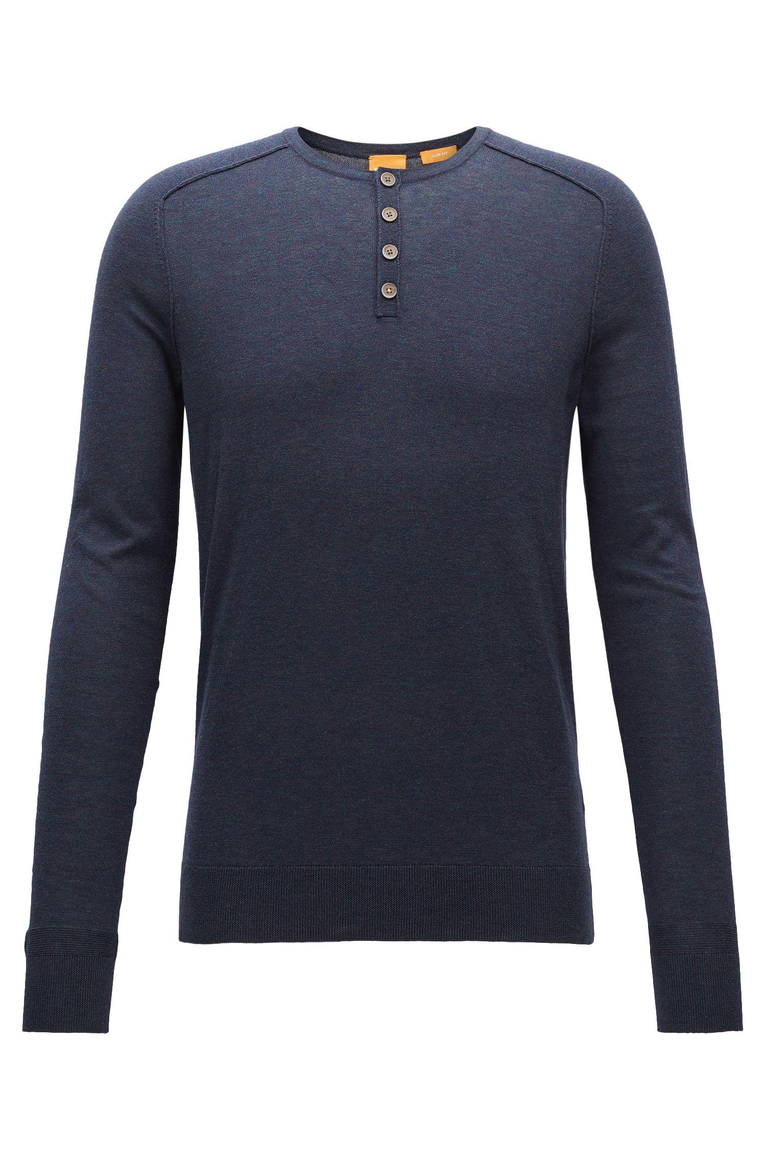Melierter Slim-Fit Pullover aus Baumwolle
