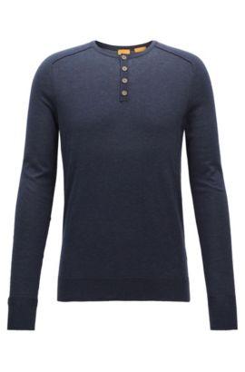 Melierter Slim-Fit Pullover aus Baumwolle, Dunkelblau