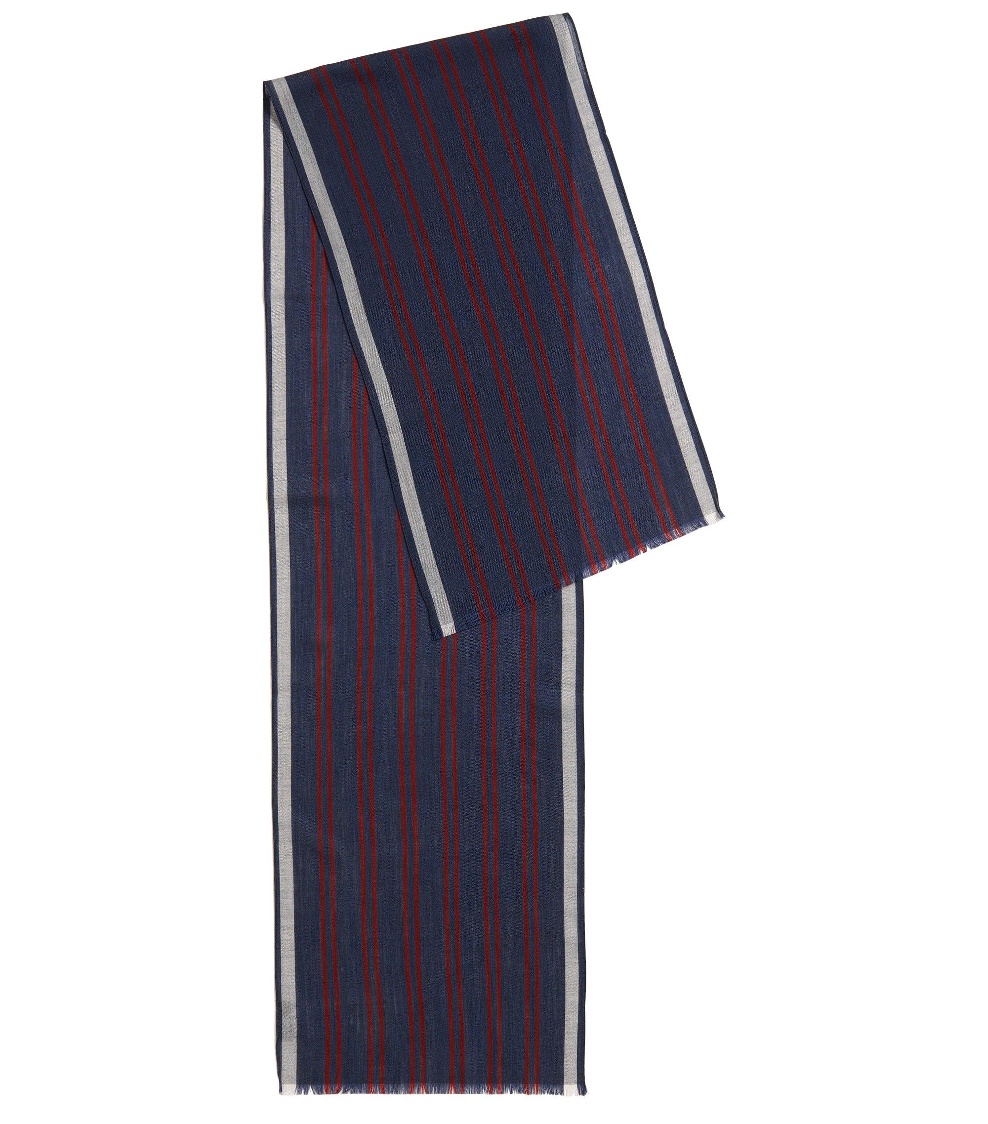 Gestreifter Schal aus leichtem Woll-Mix, Dunkelblau