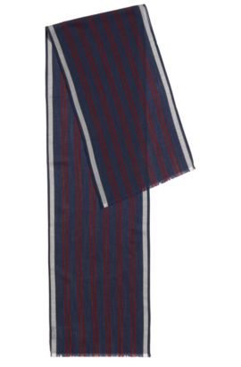 Lightweight striped scarf in a wool blend, Dark Blue