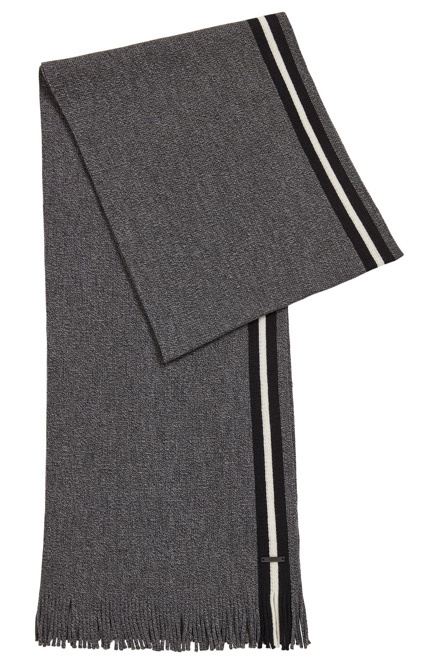 Sjaal van scheerwol in mouliné met blokstreep