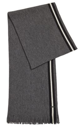 Mouliné virgin wool scarf with block stripe, Black