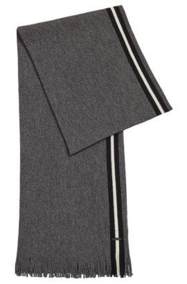 Écharpe en laine vierge moulinée avec une bande à rayures, Noir