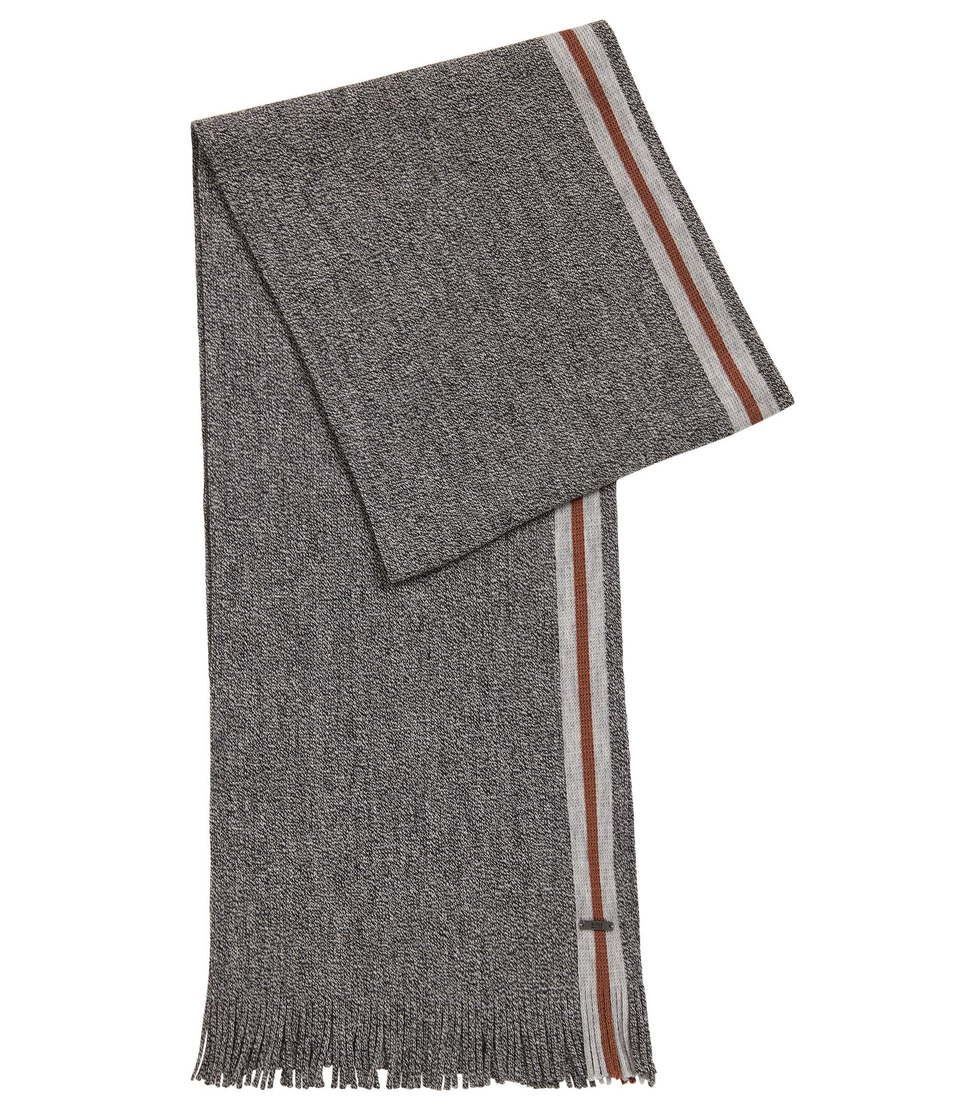 Écharpe en laine vierge moulinée avec une bande à rayures, Gris