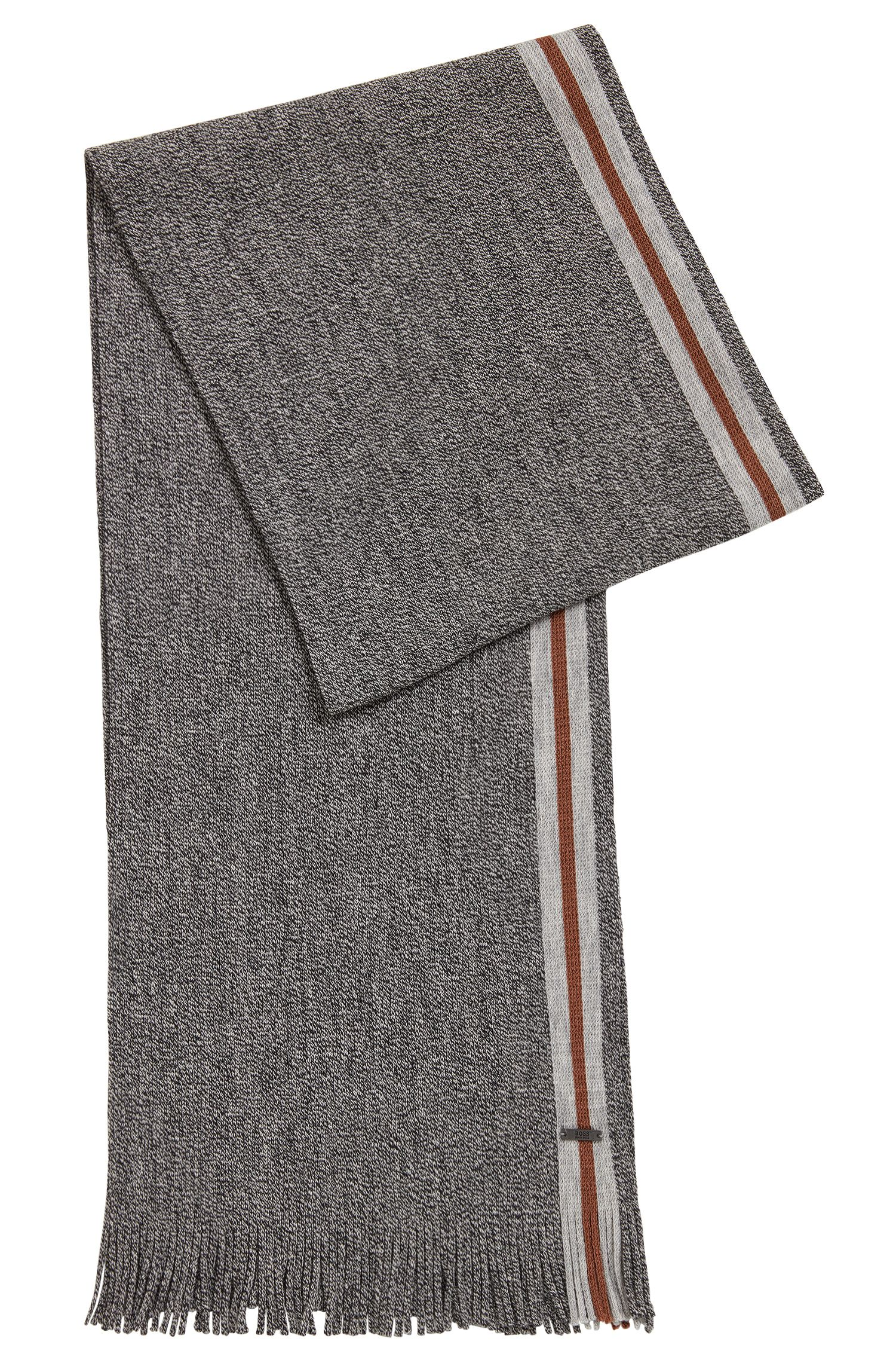 Mouliné virgin wool scarf with block stripe