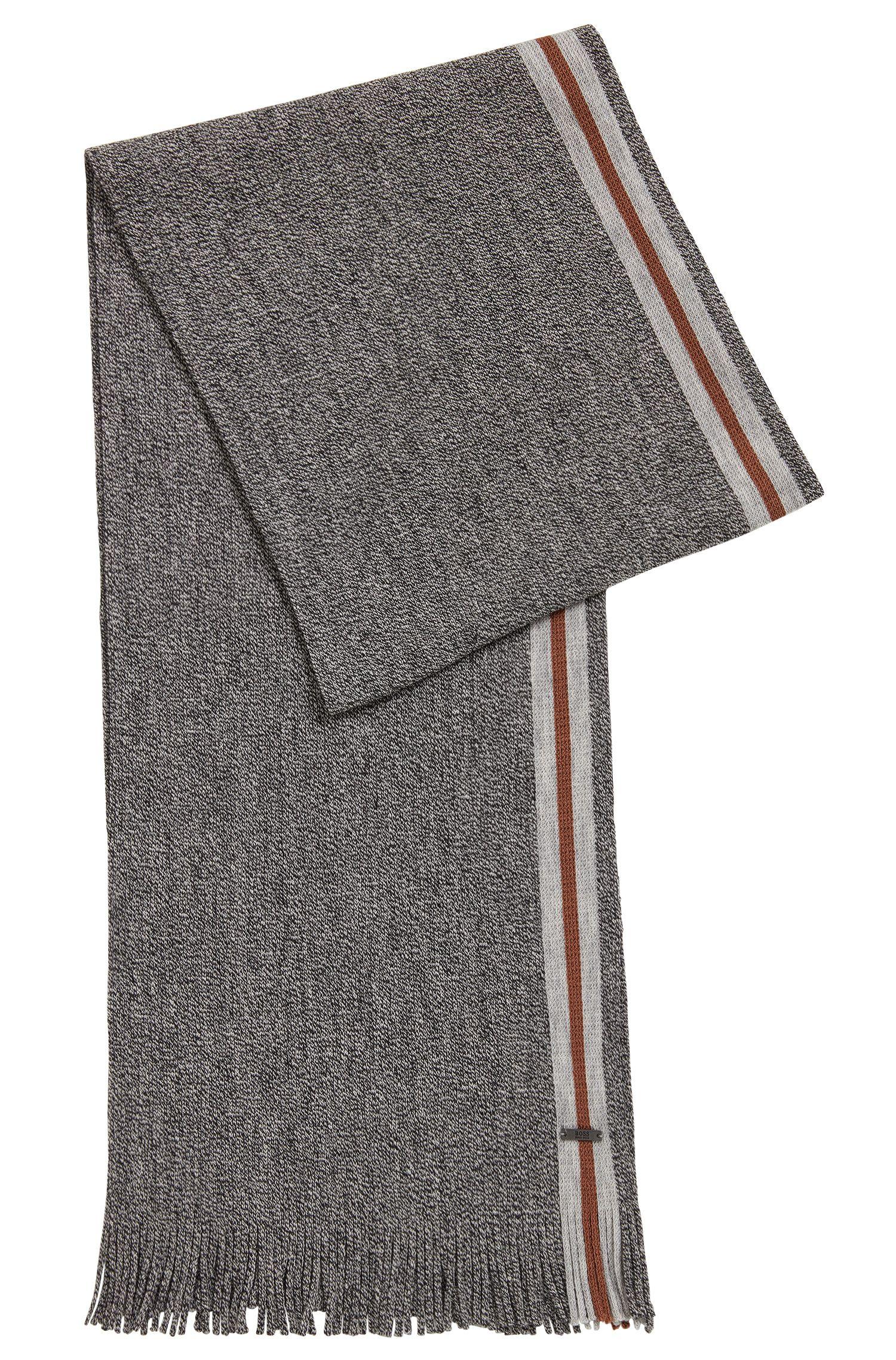 Écharpe en laine vierge moulinée avec une bande à rayures
