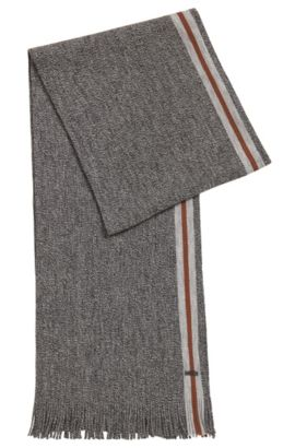 Mouliné virgin wool scarf with block stripe, Grey