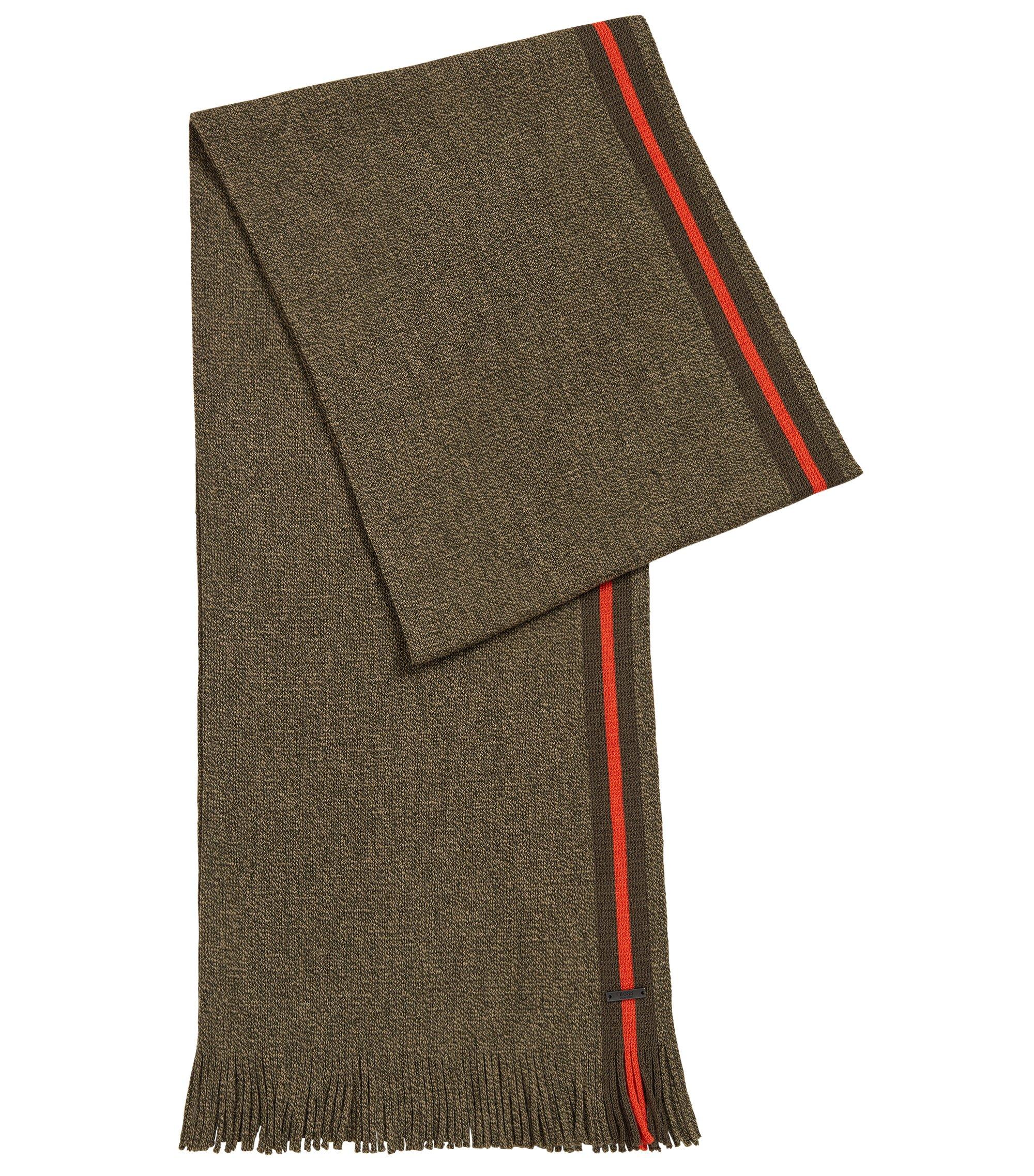 Sjaal van scheerwol in mouliné met blokstreep, Groen