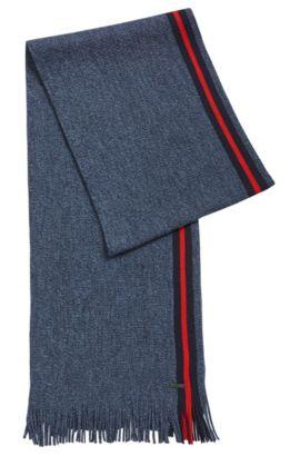 Écharpe en laine vierge moulinée avec une bande à rayures, Bleu foncé