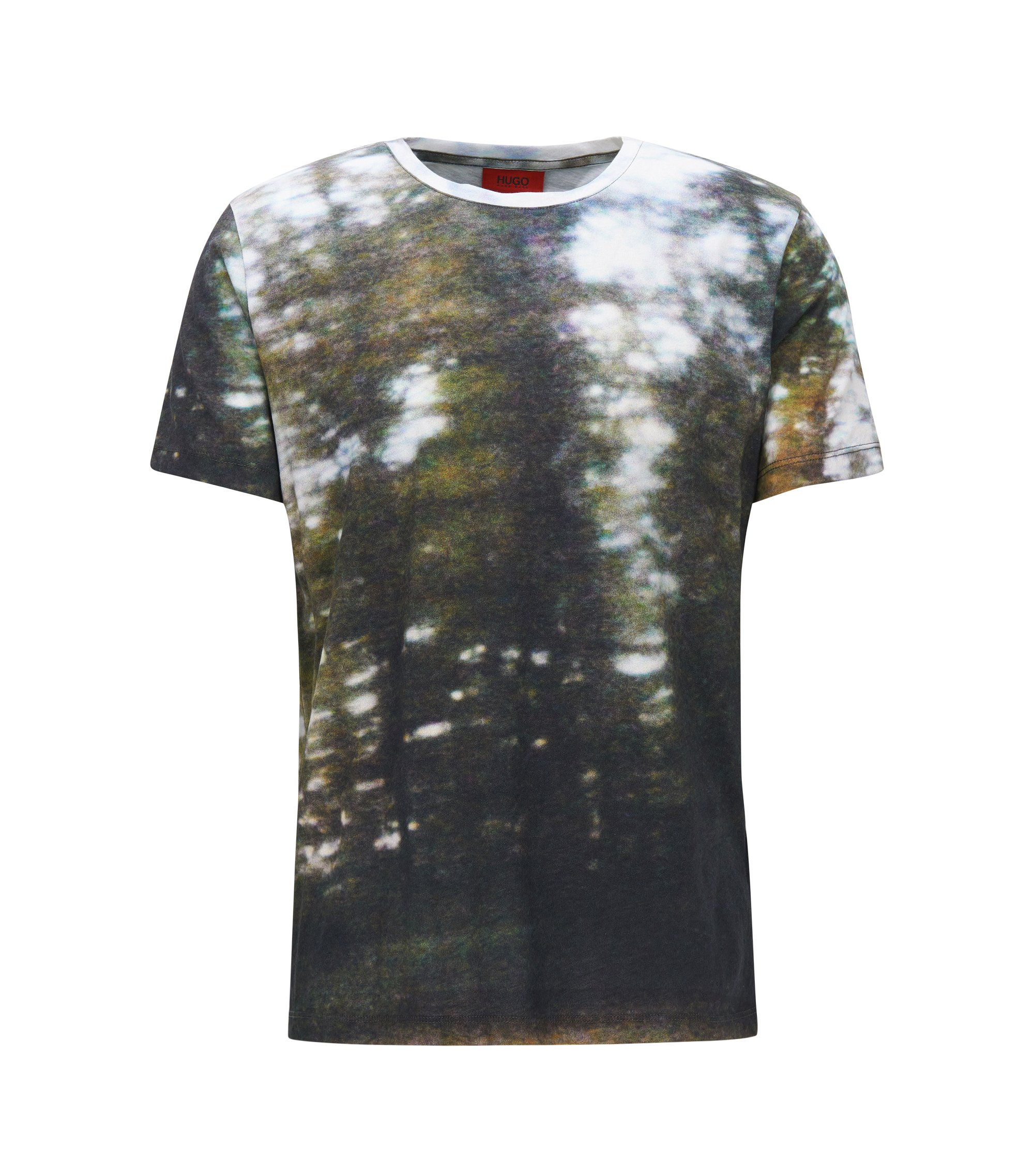 Relaxed-fit cotton T-shirt in seasonal print, Dark Green