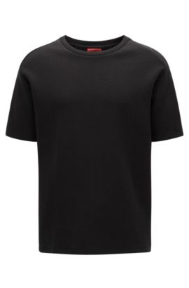 Relaxed-fit heavyweight T-shirt in structured cotton, Black