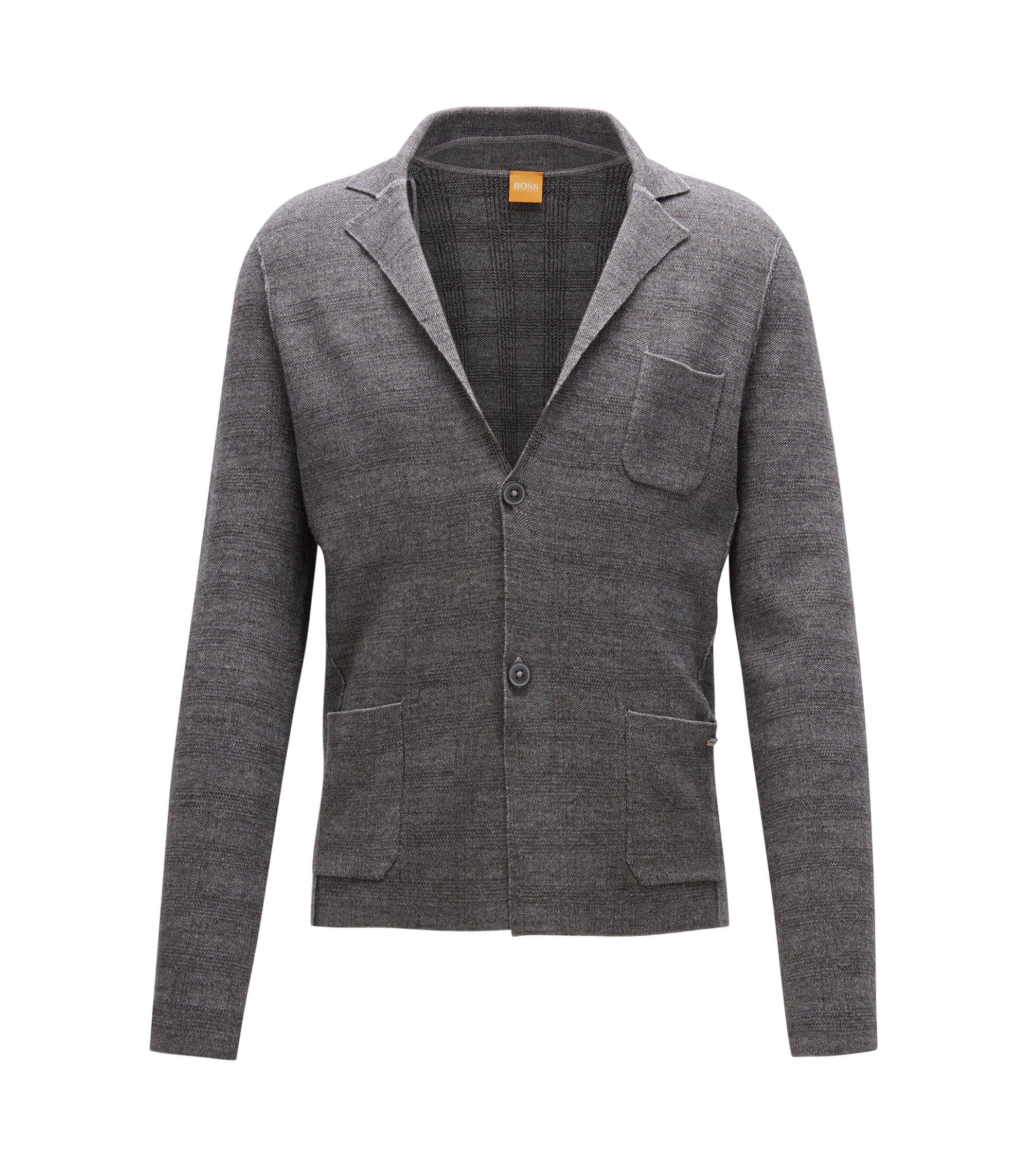 Regular-Fit Jacke aus Baumwoll-Mix mit Schurwolle, Grau