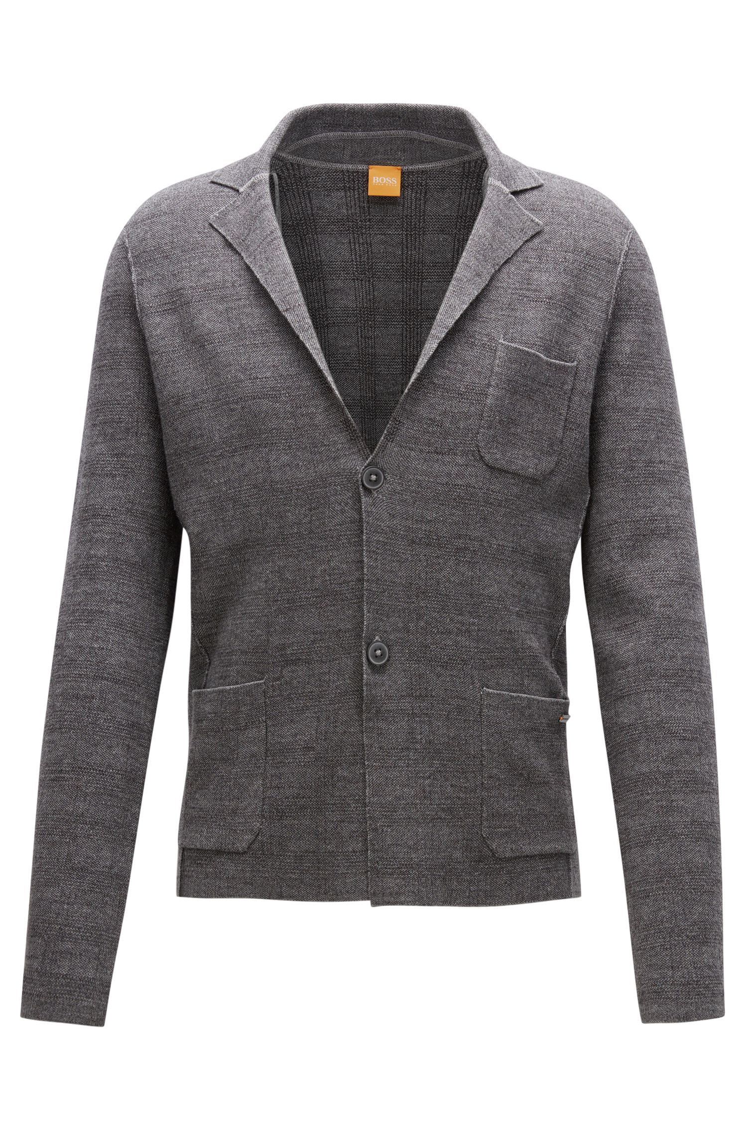 Regular-fit knitted jacket in cotton mix
