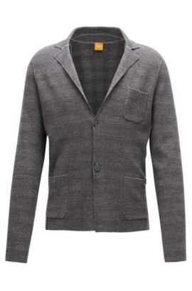 Regular-fit knitted jacket in cotton mix, Grey