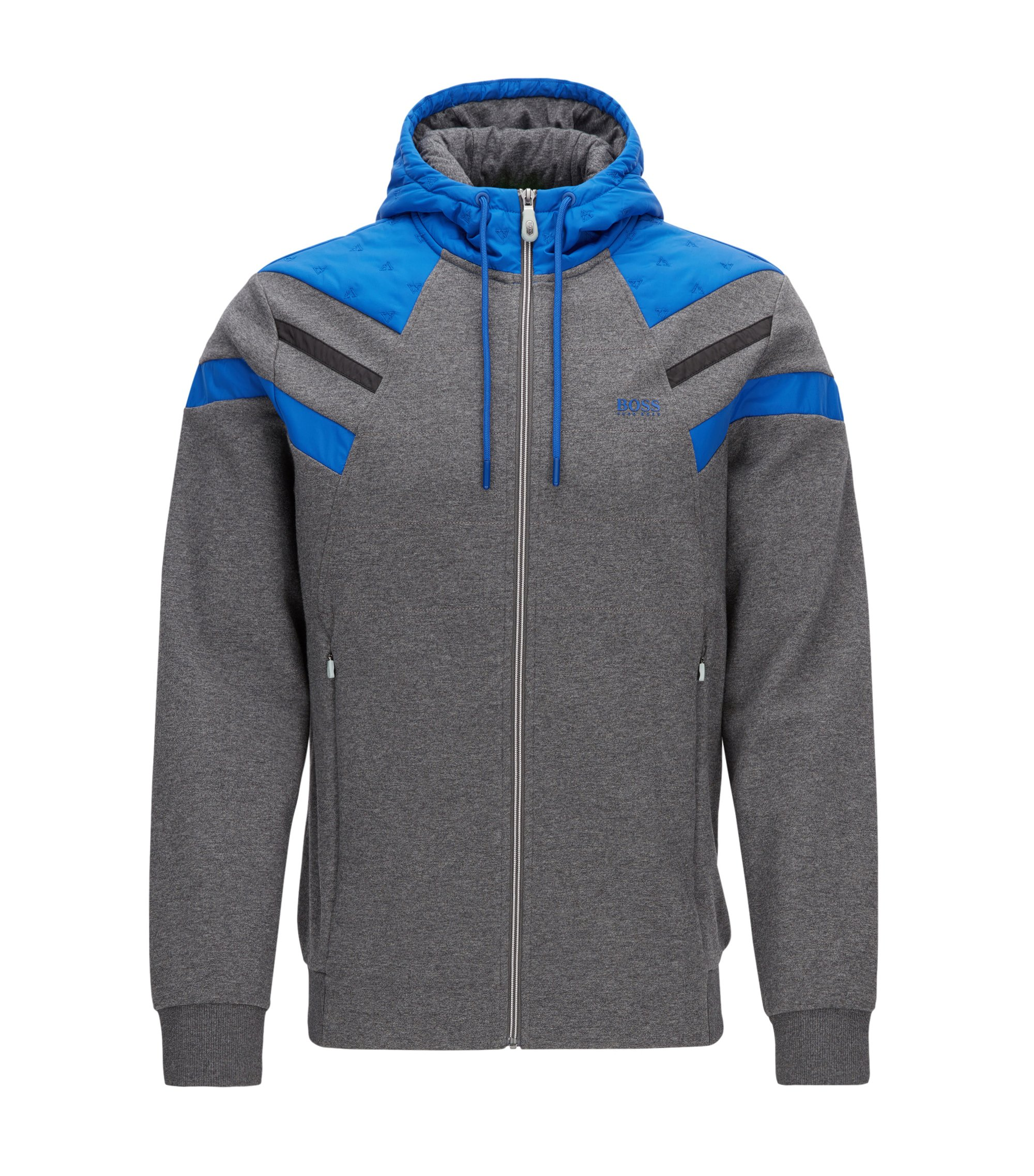Zip-through hoody in double-faced cotton-blend, Grey