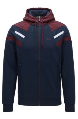 Felpa con cappuccio e zip integrale in misto cotone double face, Blu scuro