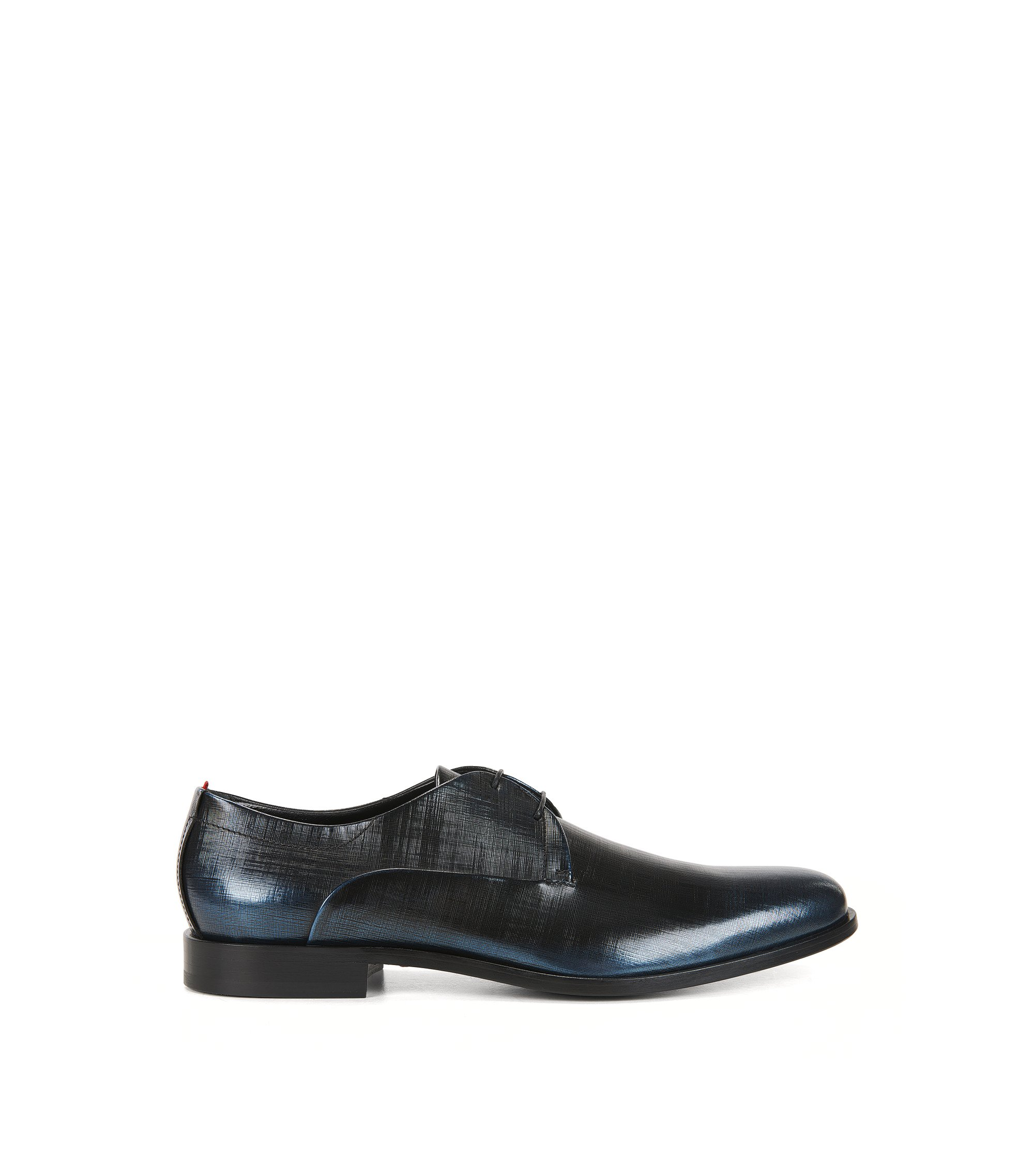 Derby shoes in embossed brush-off leather, Dark Blue