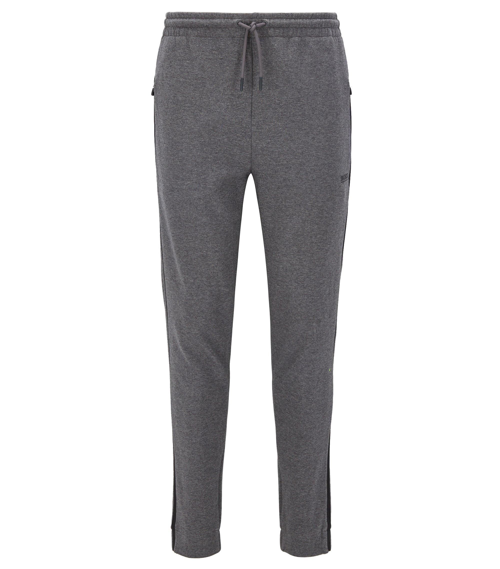 Pantaloni regular fit in jersey di misto cotone con righe a contrasto, Grigio