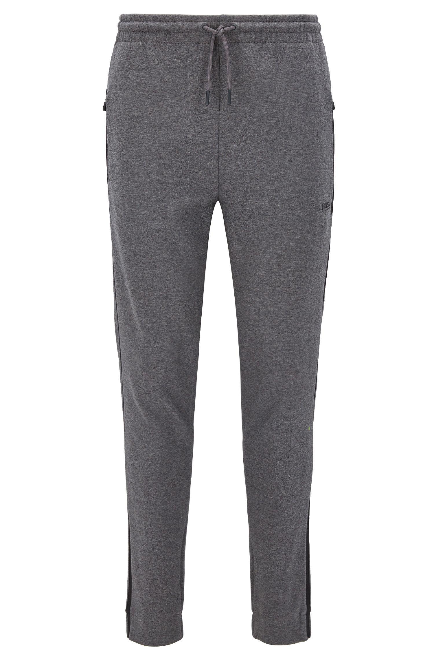 Pantaloni regular fit in jersey di misto cotone con righe a contrasto