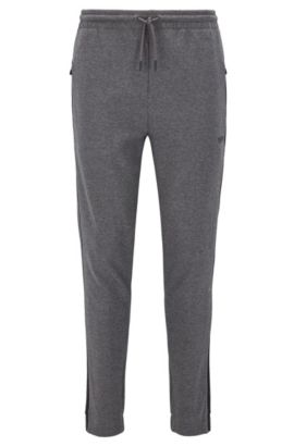Regular-fit cotton-blend jersey trousers with contrast stripes, Grey