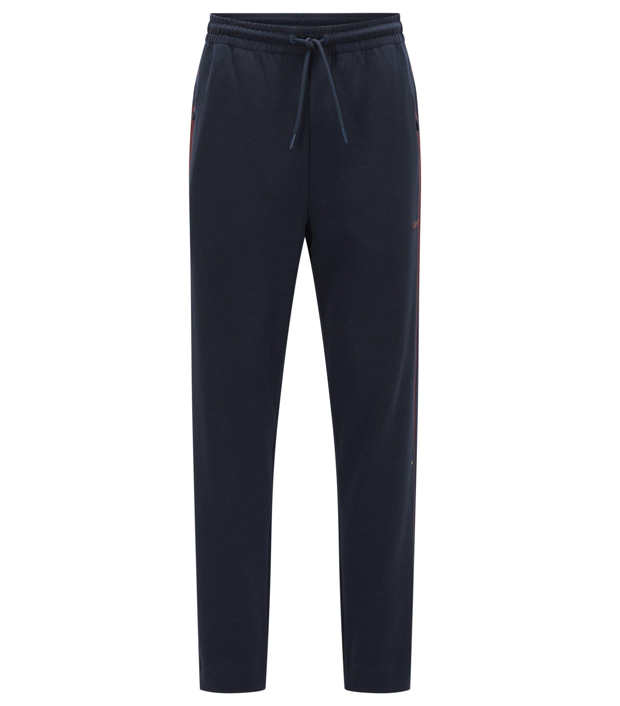 Pantaloni regular fit in jersey di misto cotone con righe a contrasto, Blu scuro