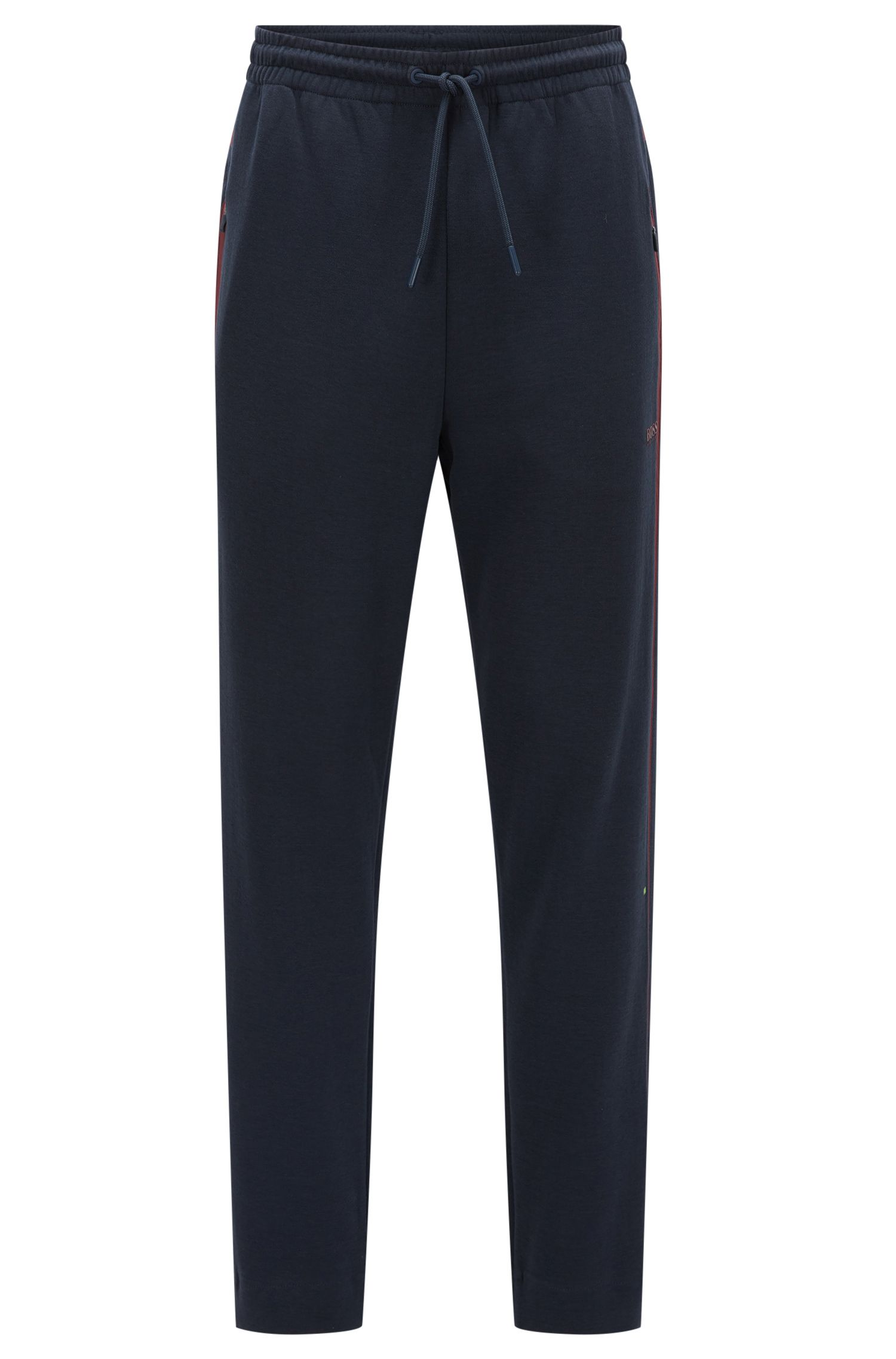 Regular-fit cotton-blend jersey trousers with contrast stripes