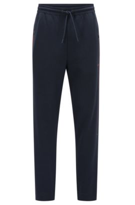 Pantaloni regular fit in jersey di misto cotone con righe a contrasto, Blu scuro